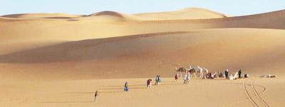 sahara sand dunes, camels and people, libya
