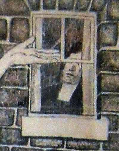 a section  from The Bardia Mural Drawing showing a woman behind a closed window, probably John's mother.