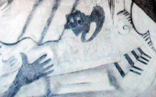 a section showing skulls from The Bardia Mural Drawing