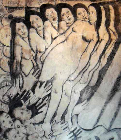 a section showing a group of slender women, somewhat sad faces,  from The Bardia Mural Drawing