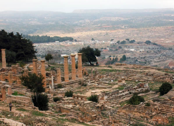 a view of Cyrene with the mountains in the background