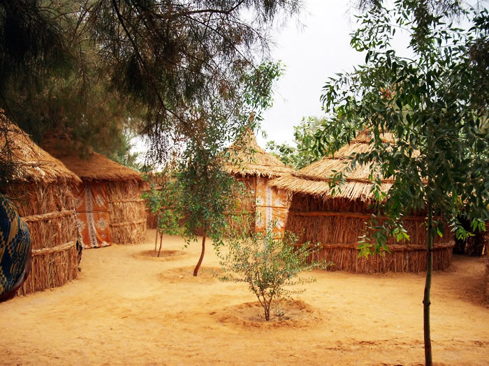campsite in Ghat: straw huts and small trees in between