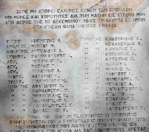 A grave stone showing names in the Greek language, from the cemetery