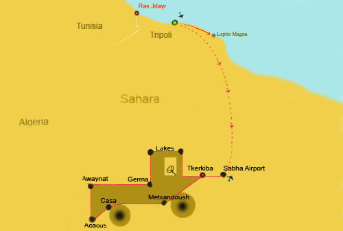 a map showing a travel route through the sahara, from Sabha to Acacus