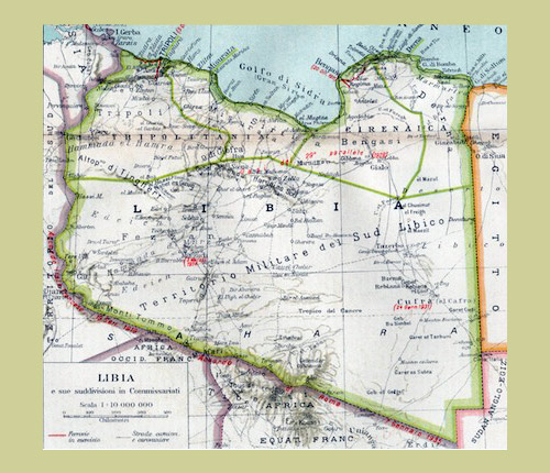 libya map under Italian occupation in 1934