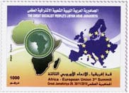 muhammad gaddafi issues a stamp commemorating the African summit
