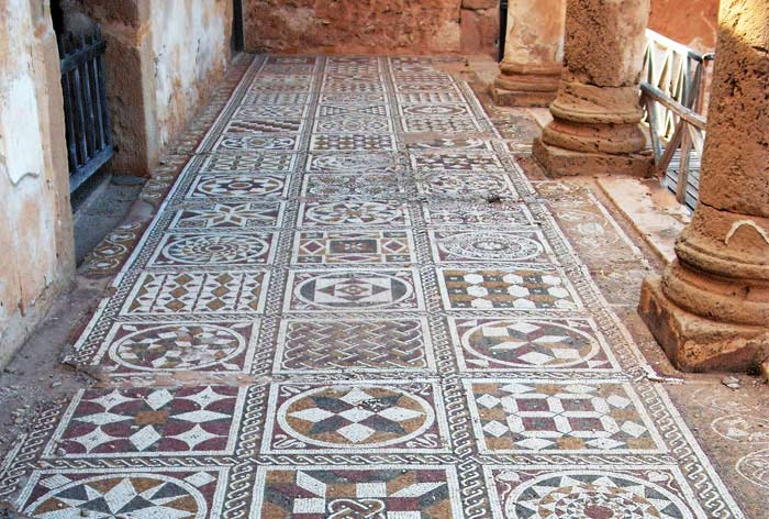 mosaic floor with geometric designs