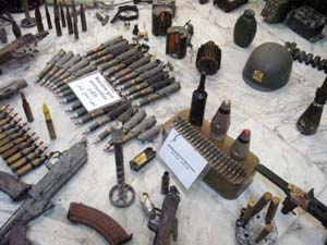 ammunitions in display