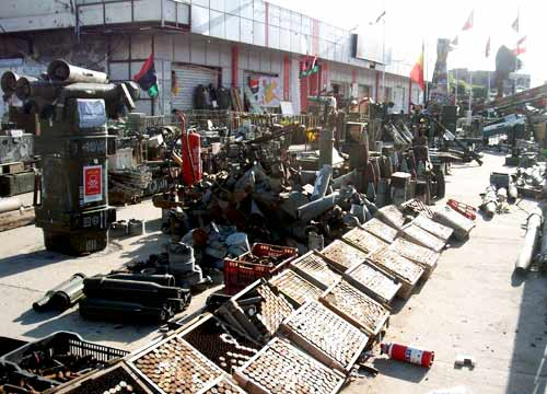 display of ammunition and war machineray