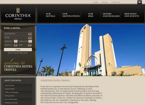 screenshot of corinthia website