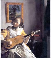 a youn woman playing a guitar, 1672 ad