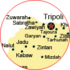 section of map showing some cities of libya