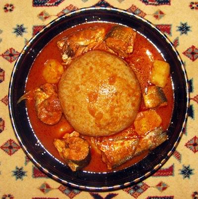 Libyan bazin with fish