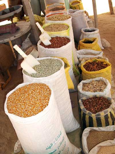 beans, nuts and seeds, in sacks