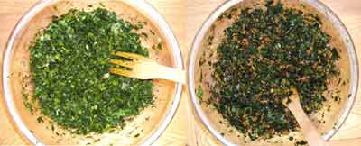 cut herbs ready for mixing