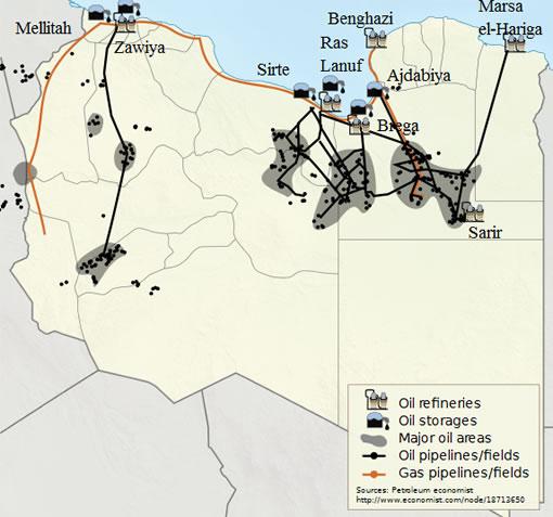 map of oil fields in Libya
