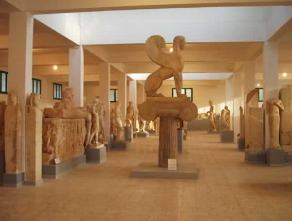 A massive collection of statues and sculptures from Cyrene Museum, including a giant sphinx in the middle of the room.