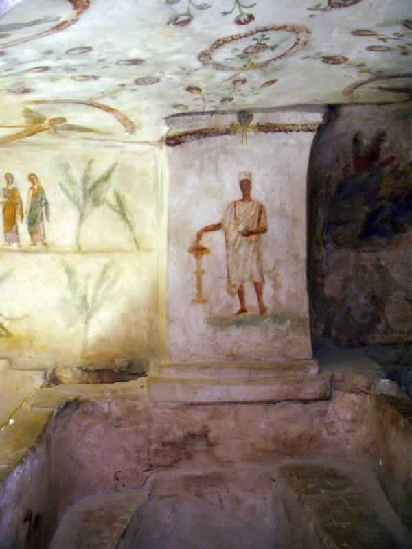 a libyan man in traditional clothes, painted on the wall of the tomb