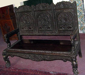 woden carved bench