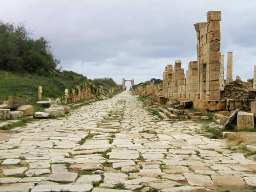 an ancient street in Leptis Magna