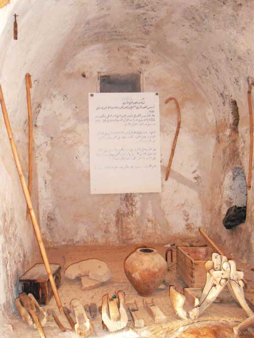 Qaser Alhaj interior showing wooden tools