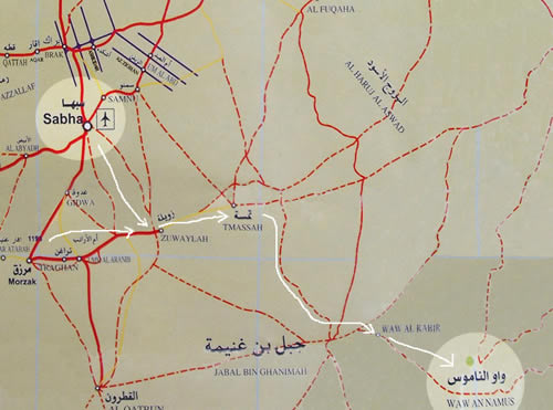 map of roads around Sabha and to Waw Annamous
