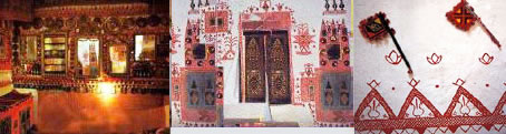 Ghadames house designs: red paint on white walls