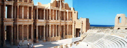 a view of Sabratha's three-floor theater
