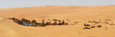 a small lake surrounded by sand dunes, Awbari sand sea