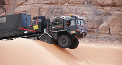 a lorry stuck in desert sand