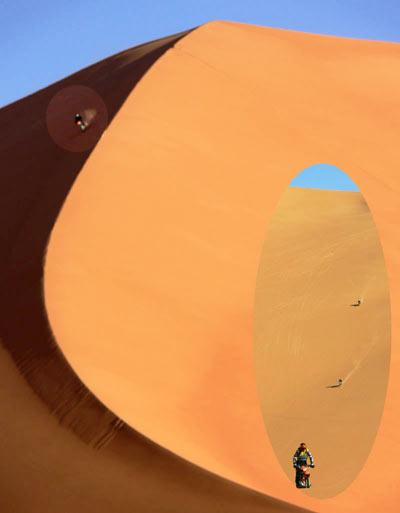 sahara riding down dune