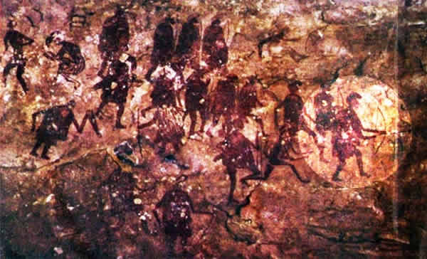 a fighting scene with people holding bows and arrows