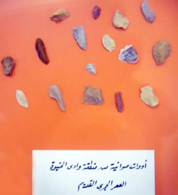 Stome implements and flints from the Stone Age.